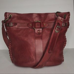 Frye red buckle ring front tote